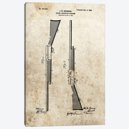 J.M. Browning Recoil Operated Firearm Patent Sketch (Foxed) Canvas Print #DSP45} by Dan Sproul Art Print