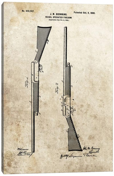 J.M. Browning Recoil Operated Firearm Patent Sketch (Foxed) Canvas Art Print