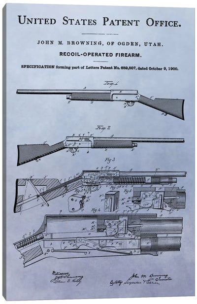 J.M. Browning Recoil-Operated  Firearm Patent Sketch (Light Blue) Canvas Print #DSP46