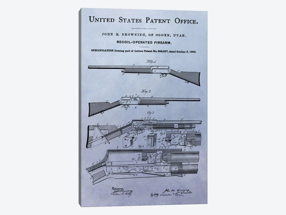 J.M. Browning Recoil-Operated  Firearm Patent Sketch (Light Blue) by Dan Sproul 1-piece Canvas Wall Art