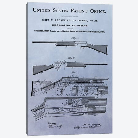 J.M. Browning Recoil-Operated  Firearm Patent Sketch (Light Blue) Canvas Print #DSP46} by Dan Sproul Art Print