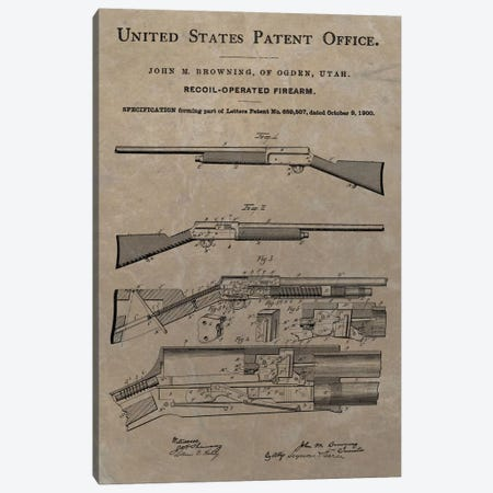 J.M. Browning Recoil-Operated  Firearm Patent Sketch (Vintage Slate) Canvas Print #DSP47} by Dan Sproul Canvas Print