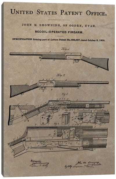J.M. Browning Recoil-Operated  Firearm Patent Sketch (Vintage Slate) Canvas Art Print