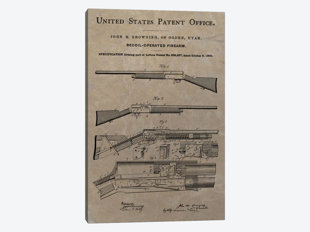 J.M. Browning Recoil-Operated  Firearm Patent Sketch (Vintage Slate) by Dan Sproul 1-piece Canvas Art Print