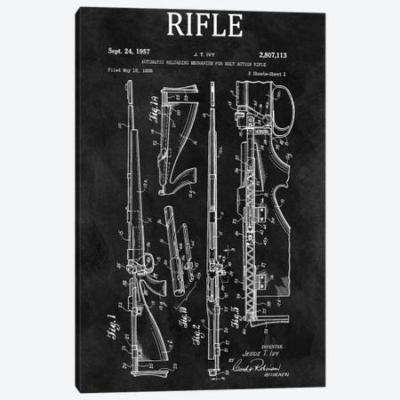 J.T. Ivy Automatic Reloading Mechanism For Bolt Action Rifle Patent Sketch (Chalkboard) Canvas Print #DSP48} by Dan Sproul Canvas Art