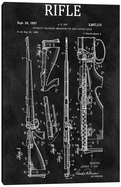 J.T. Ivy Automatic Reloading Mechanism For Bolt Action Rifle Patent Sketch (Chalkboard) Canvas Art Print