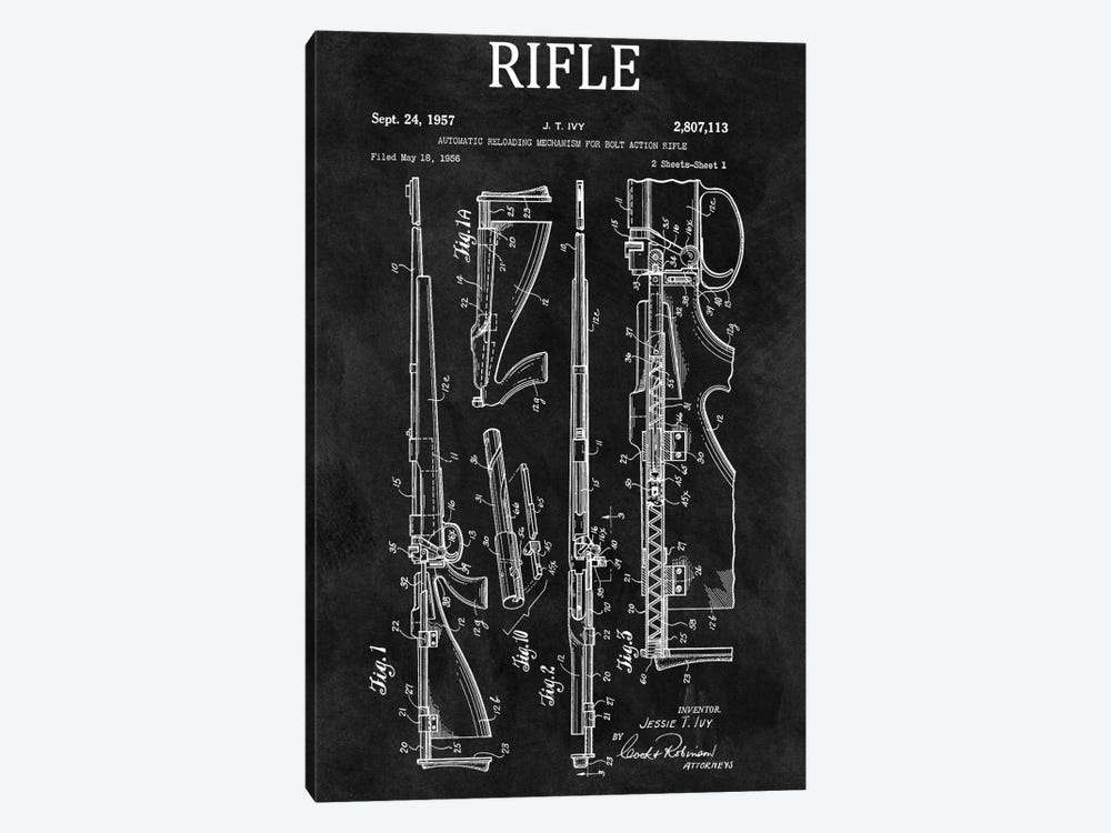 J.T. Ivy Automatic Reloading Mechanism For Bolt Action Rifle Patent Sketch (Chalkboard) by Dan Sproul 1-piece Canvas Artwork