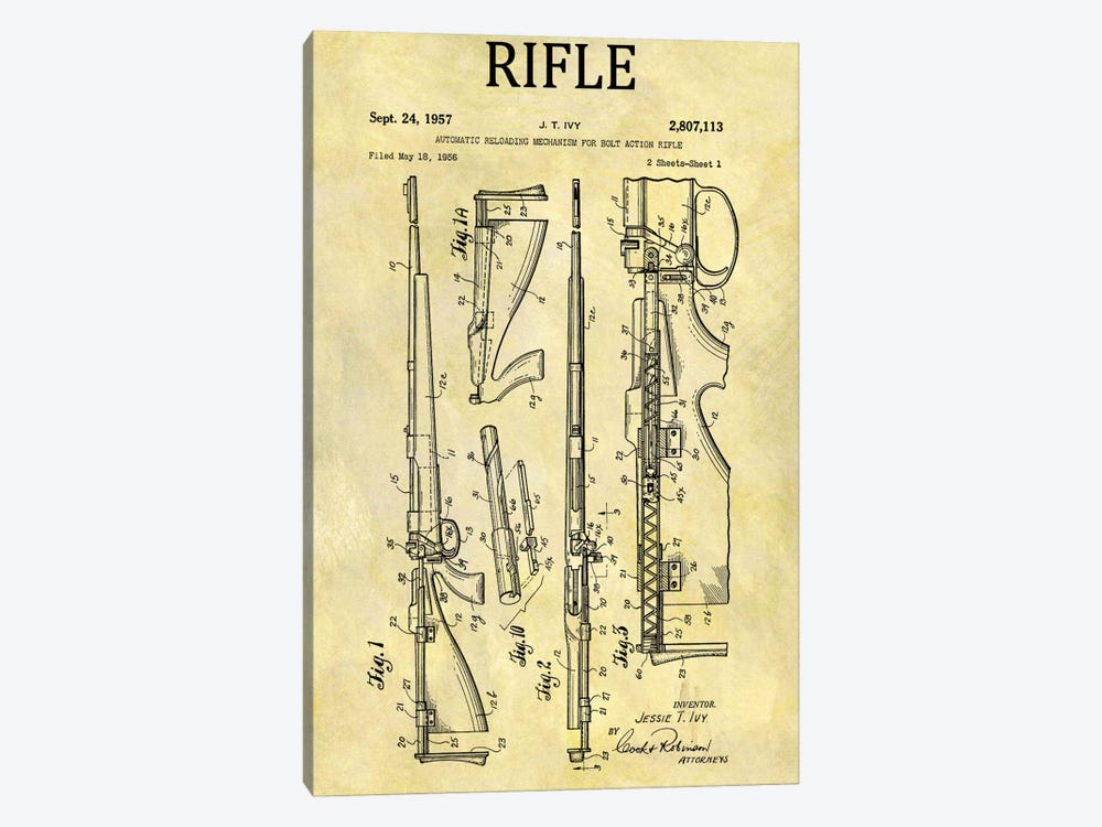 J.T. Ivy Automatic Reloading Mechanism For Bolt Action Rifle Patent Sketch (Foxed) by Dan Sproul 1-piece Art Print