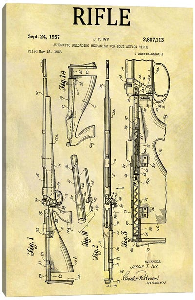 J.T. Ivy Automatic Reloading Mechanism For Bolt Action Rifle Patent Sketch (Foxed) Canvas Art Print