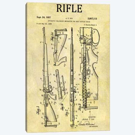 J.T. Ivy Automatic Reloading Mechanism For Bolt Action Rifle Patent Sketch (Foxed) 3-Piece Canvas #DSP49} by Dan Sproul Canvas Artwork