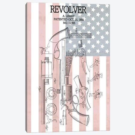 A. Lemat Revolver Patent Sketch (Stars & Stripes) Canvas Print #DSP4} by Dan Sproul Canvas Print