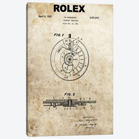 M. Huguenin (Rolex) Calendar Timepiece Patent Sketch (Foxed) Canvas Print #DSP50} by Dan Sproul Canvas Print