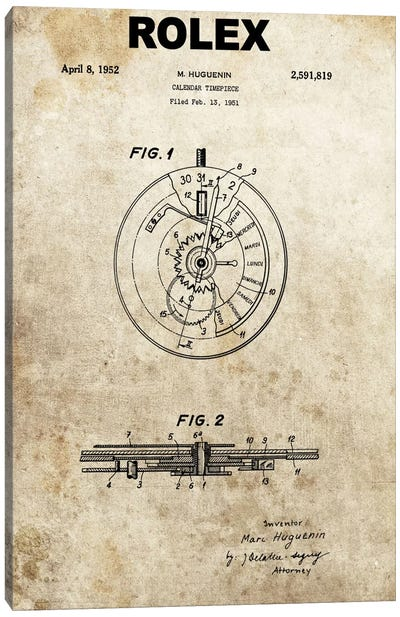 M. Huguenin (Rolex) Calendar Timepiece Patent Sketch (Foxed) Canvas Art Print