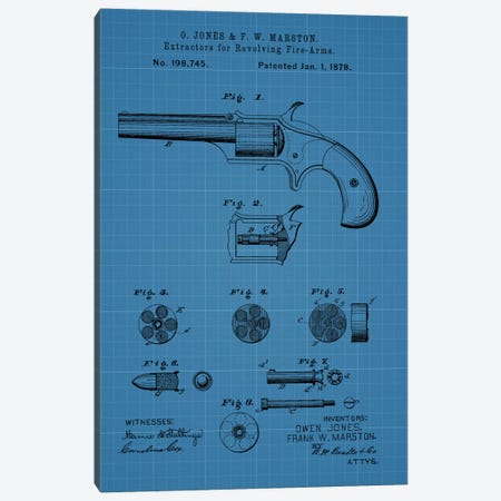 O. Jones & F.W. Marston Extractors For Revolving Fire-Arms Patent Sketch (Blue Grid) Canvas Print #DSP51} by Dan Sproul Canvas Print