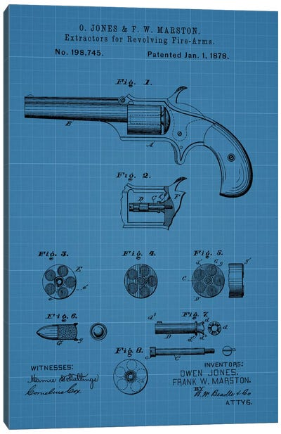 O. Jones & F.W. Marston Extractors For Revolving Fire-Arms Patent Sketch (Blue Grid) Canvas Art Print