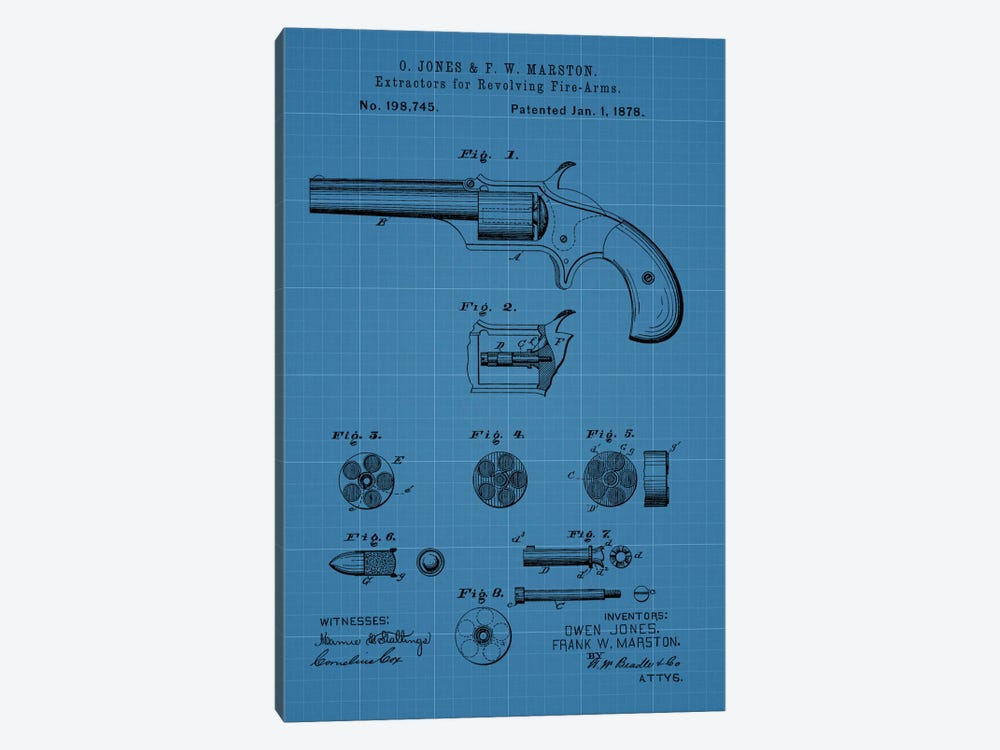 O. Jones & F.W. Marston Extractors For Revolving Fire-Arms Patent Sketch (Blue Grid) 1-piece Canvas Artwork