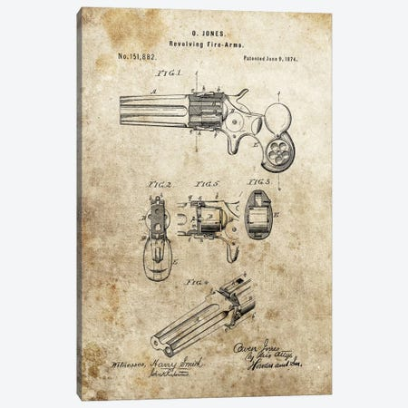 O.Jones Revolving Fire-Arms Patent Sketch (Foxed) Canvas Print #DSP52} by Dan Sproul Canvas Art Print