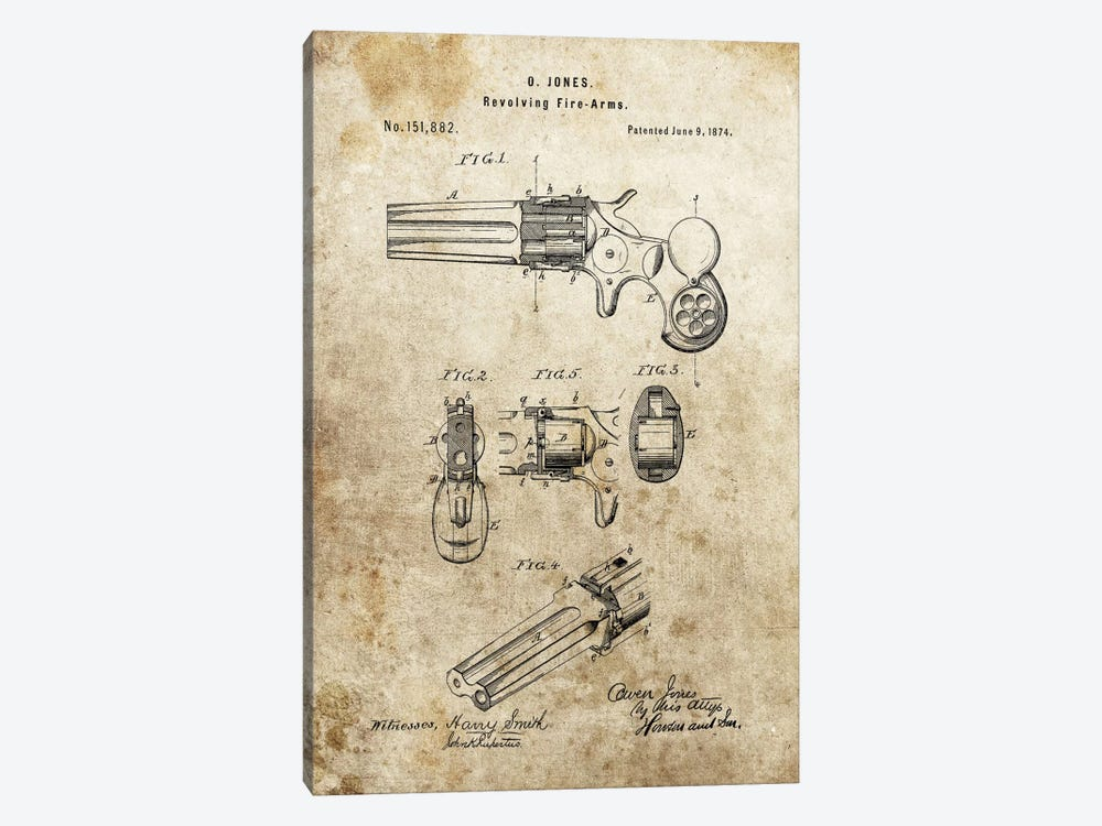 O.Jones Revolving Fire-Arms Patent Sketch (Foxed) by Dan Sproul 1-piece Canvas Art Print