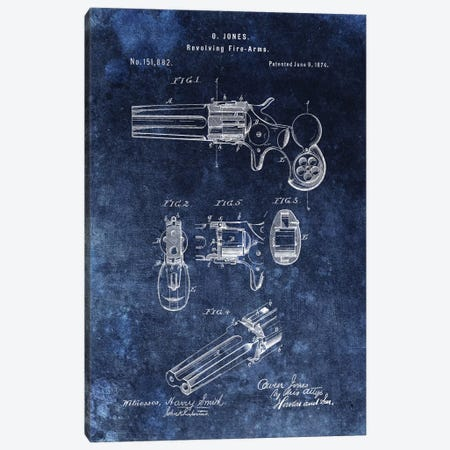 O.Jones Revolving Fire-Arms Patent Sketch (Vintage Blue) Canvas Print #DSP53} by Dan Sproul Canvas Art Print