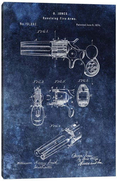 O.Jones Revolving Fire-Arms Patent Sketch (Vintage Blue) Canvas Art Print
