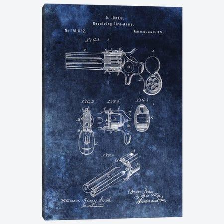 O.Jones Revolving Fire-Arms Patent Sketch (Vintage Blue) Canvas Print #DSP53} by Dan Sproul Canvas Art Print