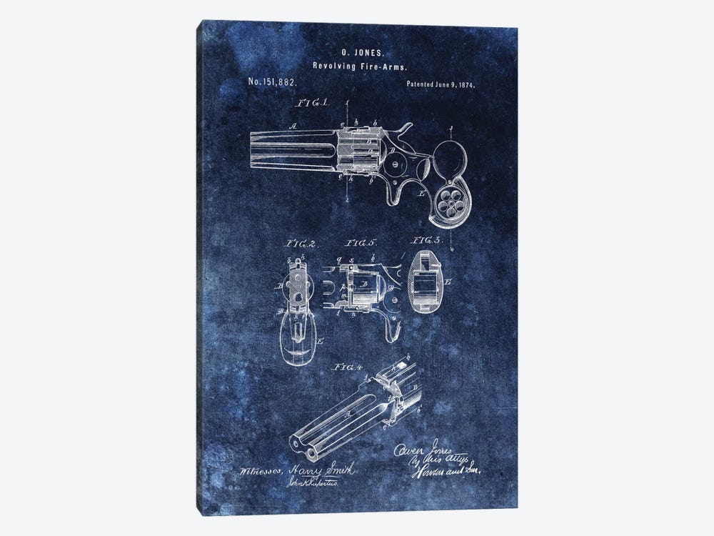 O.Jones Revolving Fire-Arms Patent Sketch (Vintage Blue) by Dan Sproul 1-piece Canvas Wall Art