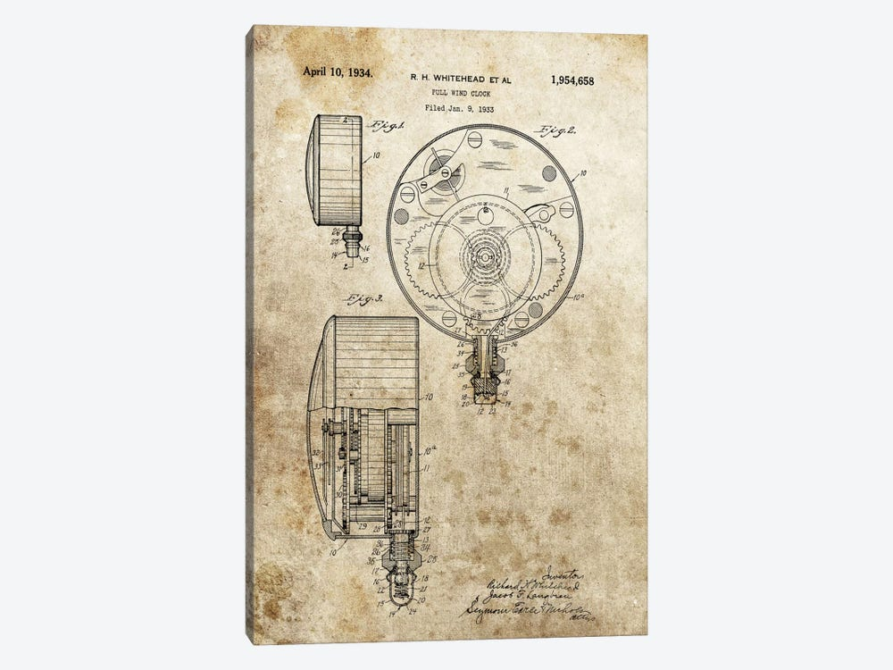 R.H.Whitehead Full Wind Clock Patent Sketch (Foxed) by Dan Sproul 1-piece Canvas Print