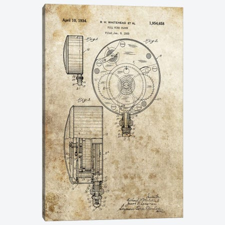 R.H.Whitehead Full Wind Clock Patent Sketch (Foxed) Canvas Print #DSP54} by Dan Sproul Canvas Wall Art