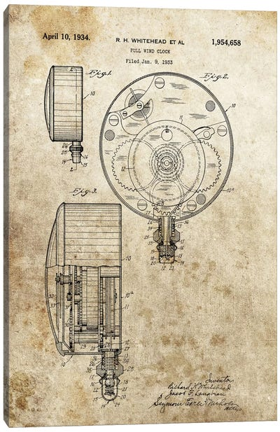 R.H.Whitehead Full Wind Clock Patent Sketch (Foxed) Canvas Art Print