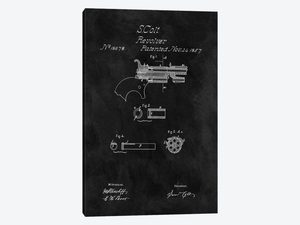 S. Colt Revolver Patent Sketch (Chalkboard) by Dan Sproul 1-piece Canvas Art