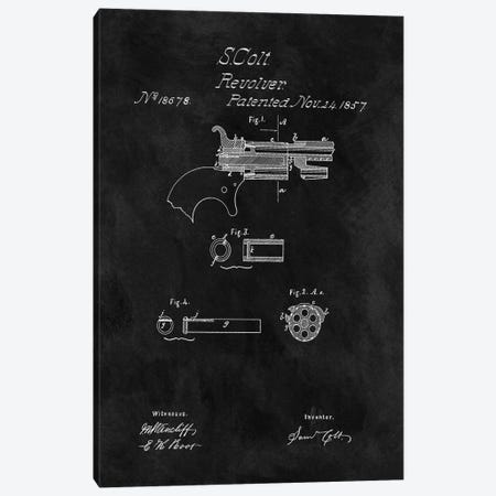 S. Colt Revolver Patent Sketch (Chalkboard) Canvas Print #DSP55} by Dan Sproul Canvas Wall Art