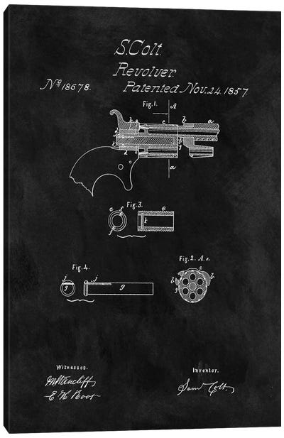 S. Colt Revolver Patent Sketch (Chalkboard) Canvas Art Print