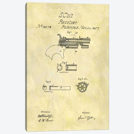 S. Colt Revolver Patent Sketch (Foxed) Canvas Print #DSP56} by Dan Sproul Canvas Art