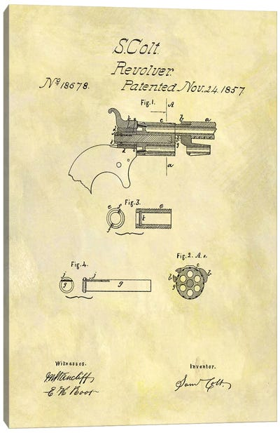 S. Colt Revolver Patent Sketch (Foxed) Canvas Print #DSP56