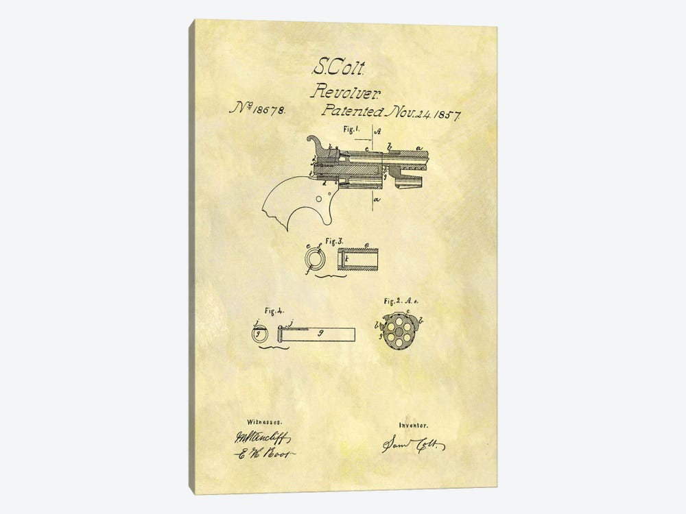 S. Colt Revolver Patent Sketch (Foxed) by Dan Sproul 1-piece Canvas Art Print