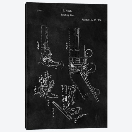 S. Colt Revolving Gun Patent Sketch (Chalkboard) Canvas Print #DSP57} by Dan Sproul Canvas Wall Art