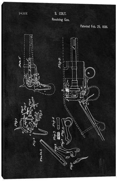 S. Colt Revolving Gun Patent Sketch (Chalkboard) Canvas Art Print