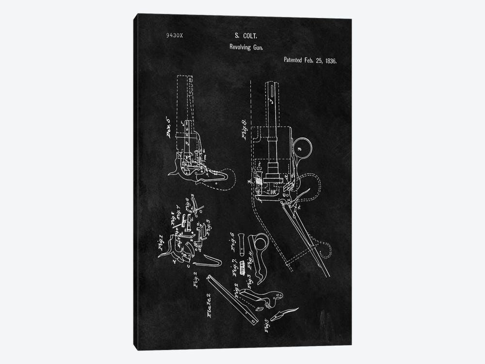 S. Colt Revolving Gun Patent Sketch (Chalkboard) by Dan Sproul 1-piece Canvas Art