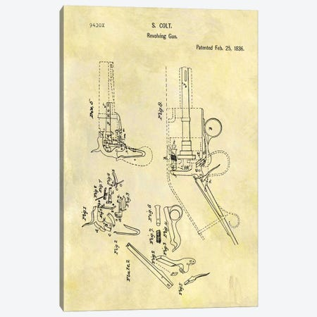 S. Colt Revolving Gun Patent Sketch (Foxed) Canvas Print #DSP58} by Dan Sproul Canvas Art Print