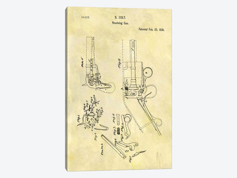 S. Colt Revolving Gun Patent Sketch (Foxed) by Dan Sproul 1-piece Canvas Print