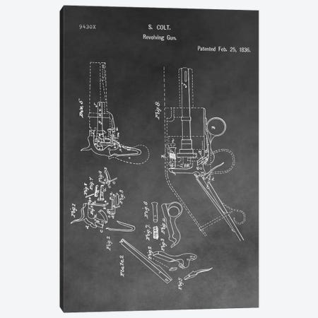 S. Colt Revolving Gun Patent Sketch (Vintage Grey) Canvas Print #DSP59} by Dan Sproul Canvas Art Print