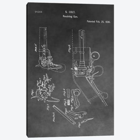 S. Colt Revolving Gun Patent Sketch (Vintage Grey) Canvas Print #DSP59} by Dan Sproul Canvas Art Print