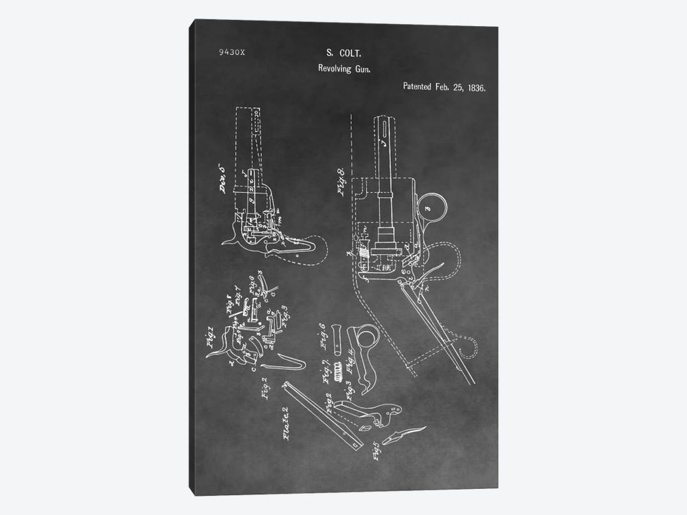 S. Colt Revolving Gun Patent Sketch (Vintage Grey) by Dan Sproul 1-piece Canvas Art