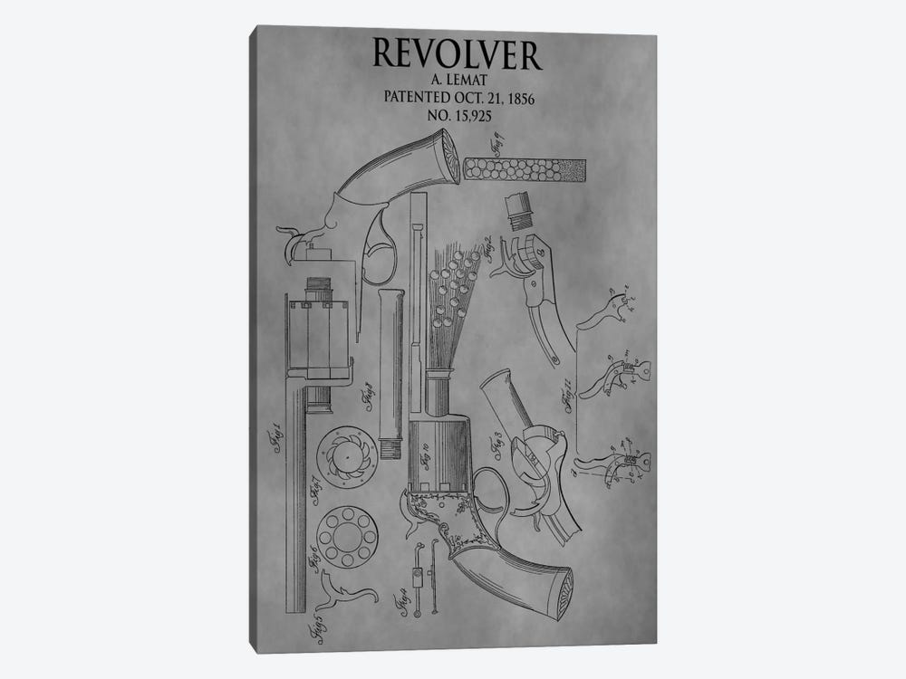 A. Lemat Revolver Patent Sketch (Vintage Grey) by Dan Sproul 1-piece Canvas Print