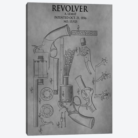 A. Lemat Revolver Patent Sketch (Vintage Grey) 3-Piece Canvas #DSP5} by Dan Sproul Canvas Art Print