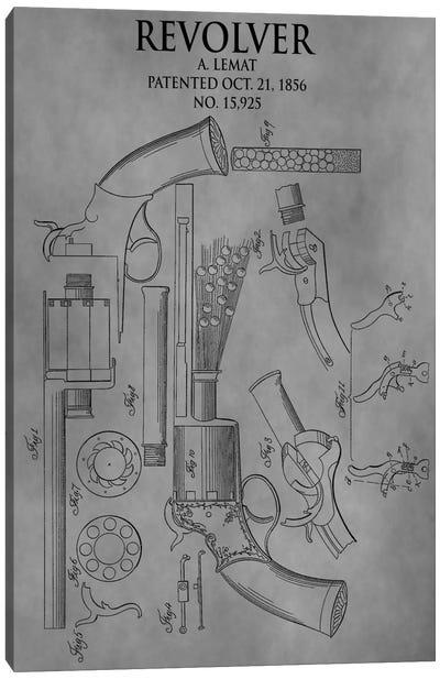 A. Lemat Revolver Patent Sketch (Vintage Grey) Canvas Art Print