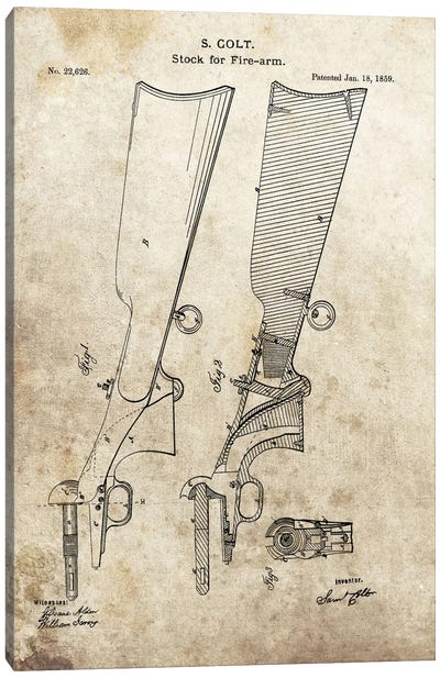 S. Colt Stock For Fire-Arm Patent Sketch (Foxed) Canvas Art Print