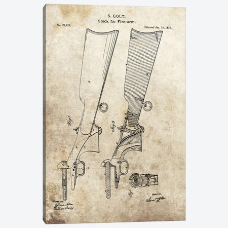 S. Colt Stock For Fire-Arm Patent Sketch (Foxed) Canvas Print #DSP60} by Dan Sproul Canvas Artwork