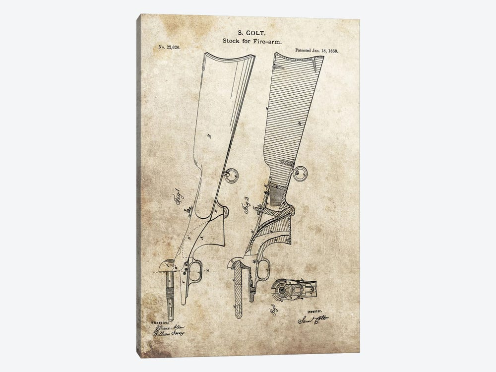 S. Colt Stock For Fire-Arm Patent Sketch (Foxed) by Dan Sproul 1-piece Canvas Wall Art