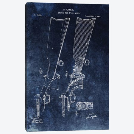 S. Colt Stock For Fire-Arm Patent Sketch (Vintage Blue) Canvas Print #DSP61} by Dan Sproul Canvas Art
